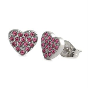 Picture of Pink Crystal Heart Studs