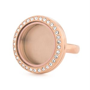 Picture of Rose Gold With Crystals Medium Locket Ring - Size 10